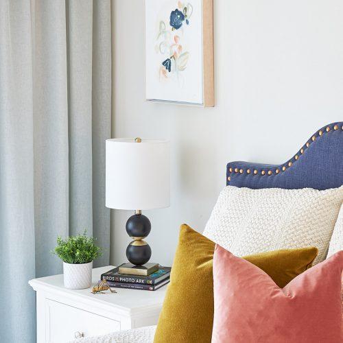 newmarket york region condo bedroom - pretty master bedroom - blue sheer curtains - upholstered headboard - boho bedroom - linda mazur design newmarket