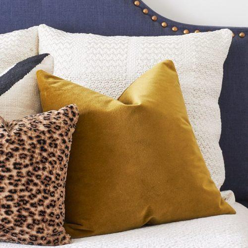 blue upholstered headboard - leopard pillow - toronto designer - bedroom vignette - linda mazur design