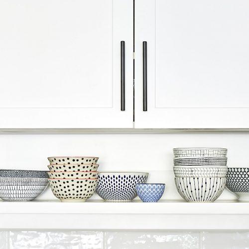 toronto condo kitchen renovation - white kitchen open shelf idea - open shelving display - linda mazur design