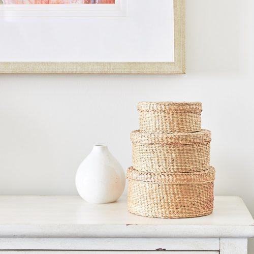 boho dining cabinet display - toronto condo living - york region condo - wicker accessories - bold art work