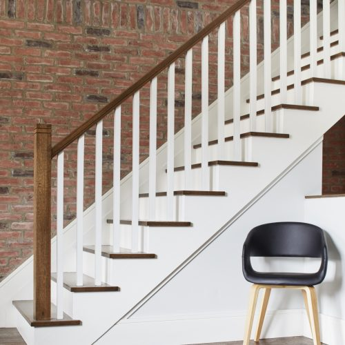 annex reclaimed brick wall staircase - exposed brick wall staircase - linda mazur design toronto designer custom millwork