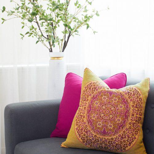 toronto condo living bright pillows and accents grey sofa linda mazur design toronto designer