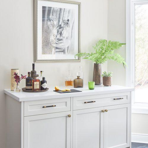 markham kitchen renovation custom cream white millwork, black floor tile bar area - toronto designer - york region designer - linda mazur design full service design build