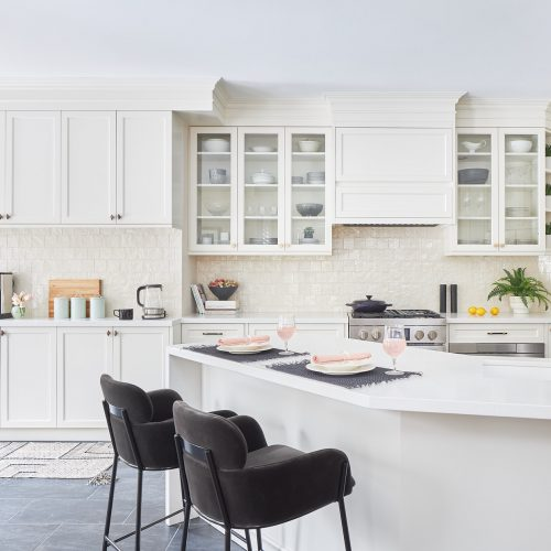 markham kitchen renovation - luxury family home - black and white kitchen - cream custom millwork - linda mazur design - toronto designer full service design build and renovate