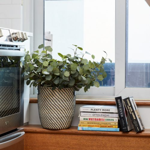 downtown toronto condo - high rise condo living - plant accessory decorating with plants - wood floors - small space living - toronto designer linda mazur design condo renovations - boho storage solutions boho design