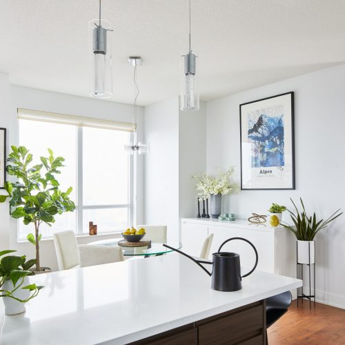 toronto condo living - toronto condo renovation open concept living - decorating with plants - boho design - scandi design - walnut cabinetry with white quartz counters - linda mazur design small space designer toronto designer