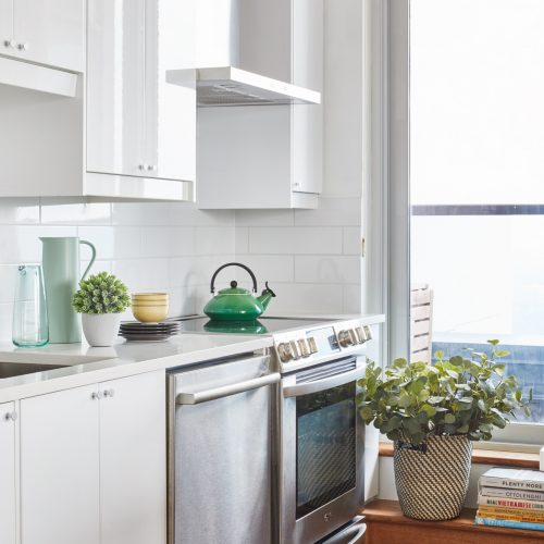 toronto condo living - toronto condo renovation open concept living - decorating with plants - boho design - scandi design - walnut cabinetry with white quartz counters white modern cabinetry- flat front cabinet doors - modern scandi condo kitchen - small kitchen design - linda mazur design small space designer toronto designer