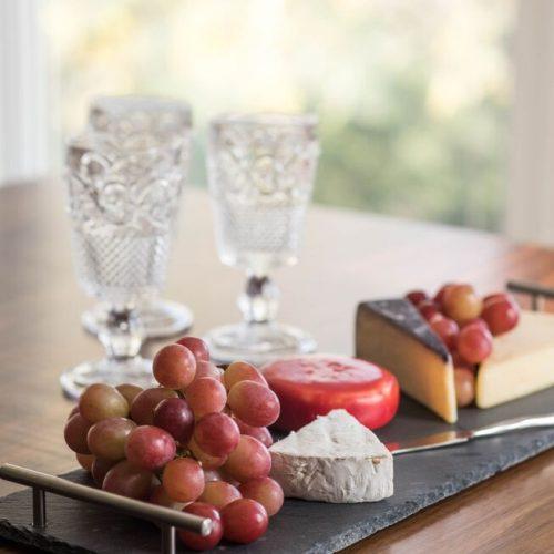kitchen counter vignette - kitchen entertaining - pressed glass wine goblets - custom walnut kitchen counter - linda mazur design toronto designer