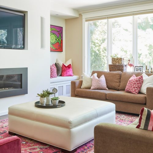 newmarket historic home addition - custom build - family home - family room - bright pinks - pink rug and artwork-linda mazur design toronto designer
