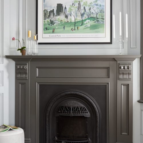 historic home - toronto luxury home renovations - salvaged fireplace mantel - vintage vibes - custom paneled room - custom painted wall paneling - dark grey painted fireplace mantel - victorian fireplace - linda mazur design - toronto designer - luxury homes