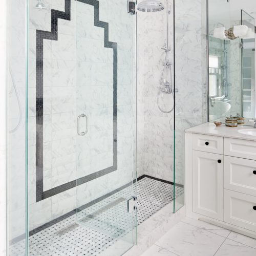 historic toronto home - art deco inspired bathroom tile - black and white bathroom - custom millwork - walk in shower for two - pattern play - marble- toronto designer - linda mazur design