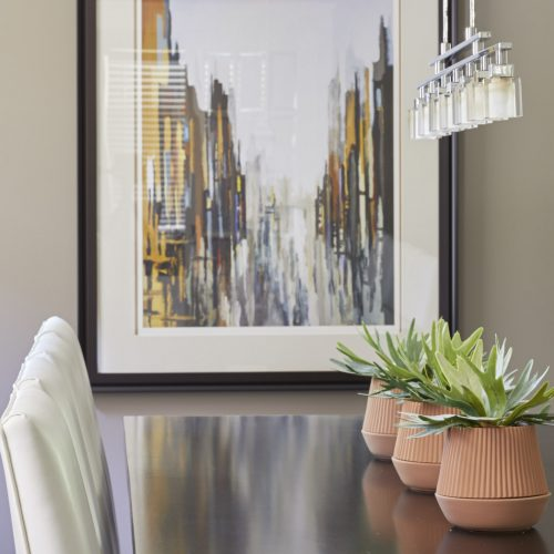 newmarket transitional dining room - custom dining table and chairs - modern lighting - transitional style - linda mazur design