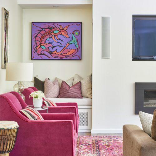 newmarket historic home addition - custom build - family home - family room - bright pinks - pink rug and artwork-linda mazur design toronto designer