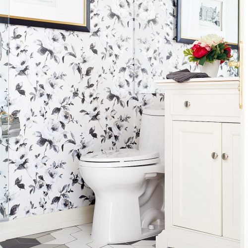 black and white toronto condo powder room - floral wallpaper - patterned tile flooring - transitional design - pattern play - linda mazur design toronto designer