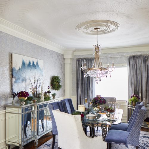 reno & decor christmas cover shoot - christmas dining room - blue and white transitional dining room with silk drapes, glass table and ceiling details - linda mazur design toronto designer -