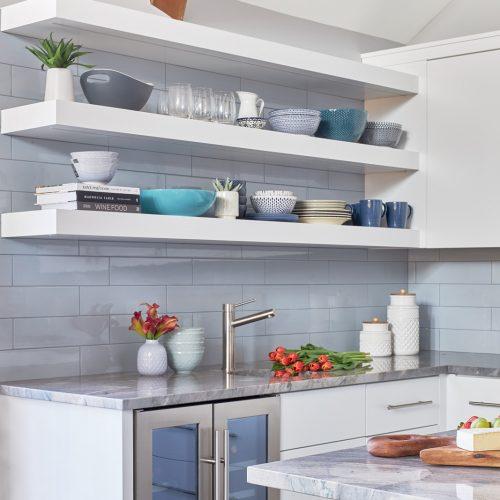 lake simcoe cottage - toronto kitchen designer - custom kitchen open shelving blue white and gray - bar fridge built-in bar area- linda mazur design