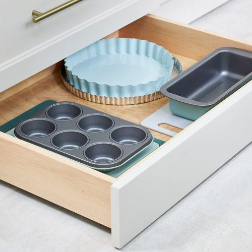 mississauga custom kitchen renovation - toe kick drawer feature - space saving feature - luxury kitchens - linda mazur design toronto designer