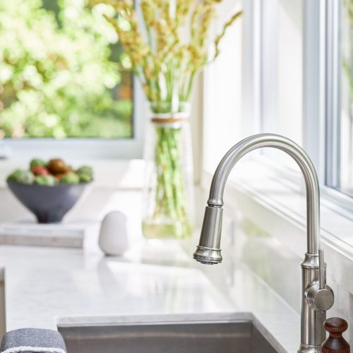 mississauga kitchen renovation picture of sink and faucet with quartz countertops - linda mazur design