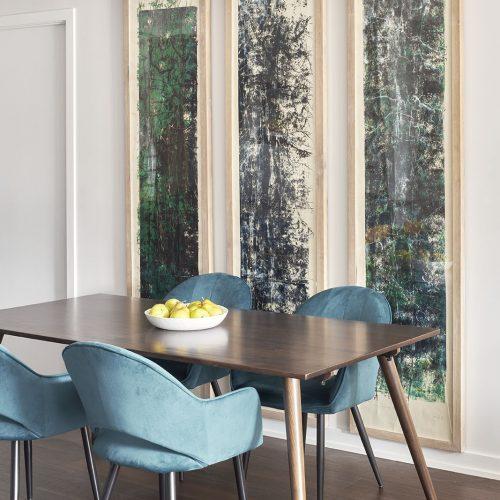 portland condo, condo renovations, walnut flooring, dining room, large scale artwork, toronto condo, toronto designer, renovations, linda mazur design