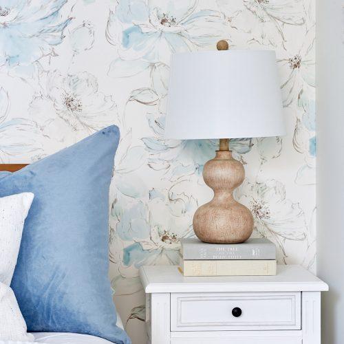 toronto condo reno, bedroom makeover, floral wallpaper, blue accents, toronto designer linda mazur design