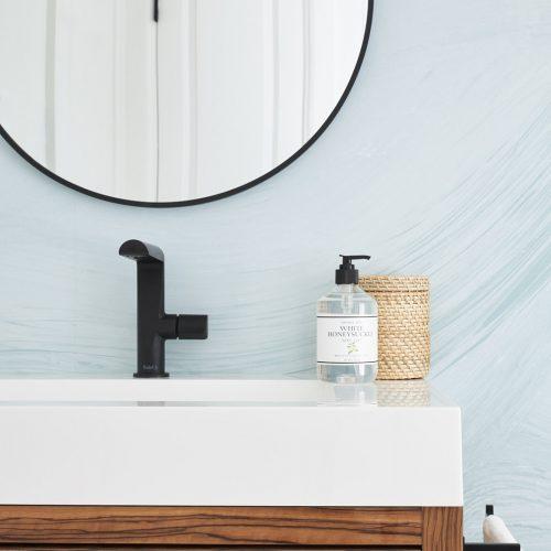 toronto condo renovation, bathroom reno, powder room, modern bathroom, modern wallpaper, wood vanity, black accessories, toronto designer, linda mazur design